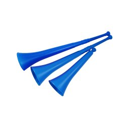 Pack of 6 Vuvuzela - South African Style Collapsible Horn, Blue
