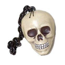 Hanging Shrunken Skull with Black Chain - Halloween Decoration