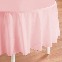 Pink Round Plastic Tablecover