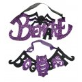 Purple and Black Sparkle Foam Halloween Wall Signs - Halloween Decorations - 2pc.