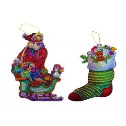 Laser Christmas Decorations - 2pc. (Stocking and Santa Sled)