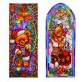 Reusable Stain Glass Window Clings - 2 Pack Teddy Bear Theme