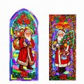 Reusable Stain Glass Window Clings - 2 Pack St. Nick/Santa Claus Theme