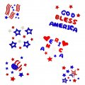 Patriotic Window Gel Art - Assorted 6 Pk
