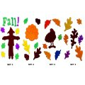 Autumn and Thanksgiving Gel Art Window Clings Sets of 4