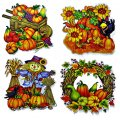 "Window Cling Decorations - ""Fall Farmer"" - 4 Piece Set"