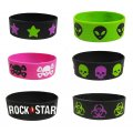 Wide Silicone Wristband - Punk Bracelets - 6 Pack