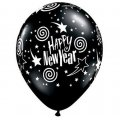 "11"" Black Round New Years Stars and Swirls Balloons"